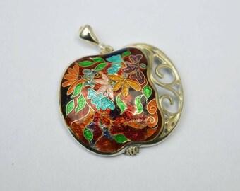 Pure silver cloisonne enamel pendant