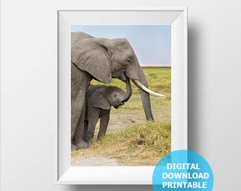 Digital Download, Elephant Family, Baby Elephant, Elephant Prints, Elephant Photo, Printаble Elephant, Nursery Decor, Vertical Photography