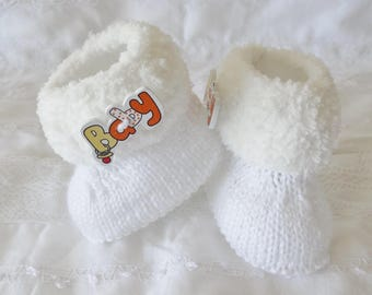 white fur boots baby 0/3 months - baby white