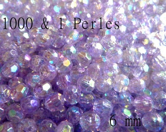 1000 beads round faceted purple AB 6mm - AB03 coating-