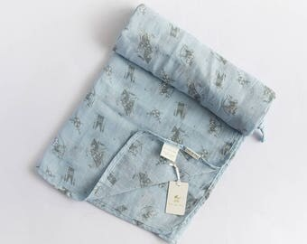 100% Cotton Muslin Baby Blue Grey Knight N Armour Print Baby Wrap Swaddle Blanket
