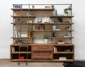 Bos Reclaimed Chestnut Stained Scaffolding Board, Dark Steel Pipe Shelving Unit with Drawers and Copper Powder Coated Adjustable Fittings