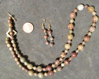 Tiger Jasper Necklace and Earrings