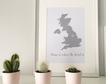 Special places map print - home is where the heart is A4 map new home wedding gift personalised