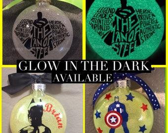 superhero ornament , Glass Ornament