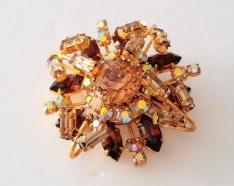 Made in Austria Gold Tone Sparkling Rhinestone Brooch