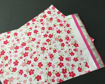 50 12x15.5 Designer Poly Mailers LITTLE RED FLOWERS Envelopes Shipping Bags