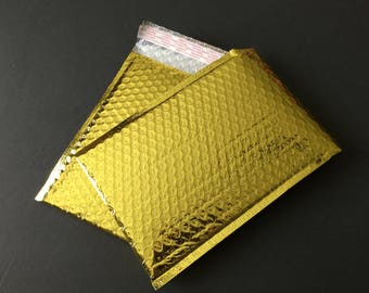 100  4x8  GOLD METALLIC Poly Bubble Mailers Size 000 Self Sealing Shipping Envelopes Christmas Wedding