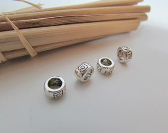 10 pearls for cord 7 x 4 mm antiqued silver - 4 mm hole - 116.34