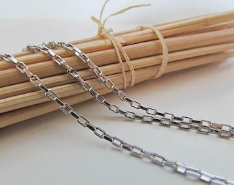 1 m stainless steel chain - stitch rectangular 2 x 1.5 mm - 73.50