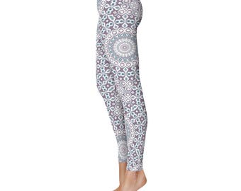 Fashion Leggings - Modern Leggings, Blue and Purple Kaleidoscope Pattern Printed Tights, Stretchy Pants, Yoga Clothing