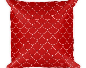 Red Mermaid Pillow, Red and White Throw Pillow 18x18, Mermaid Scales Pillow, Decorative Cushion