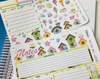 AJ6D355, Twit Twit Twoo. Notes Kit. Planner Stickers.