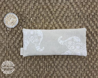Eye pillow with Lavender Amma Therapy   Meditation Cushion & Relaxation   Organic Pearled barley   Cotton canvas   Elephant calf print