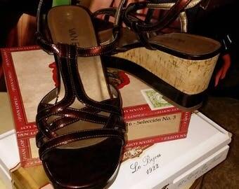 Vaneli Patent Leather Wedge Sandal