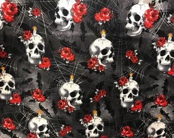 Red rose skulls and spider webs Halloween fabric, black fabric, skull fabric, Halloween night,