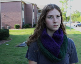 Purple/Green Wool CrochetCowl
