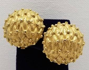 CARNEGIE Textured Gold Tone Earrings
