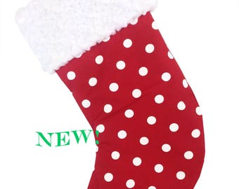 Red Polka Dot Christmas Stocking