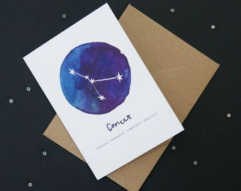 Cancer card | Star Sign Constellation Horoscope Zodiac Astrology. Birthday, new baby, greetings card