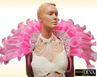 Organza Backpack - Diva Cuello  - Organza Shoulder Dress, Organza Ruffle Backpack, Showgirl Backpack, Schulterschmuck, col organza