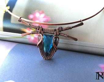 Wire wrapped pendant copper pendant green pendant  unique jewelry boho jewelry