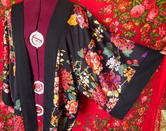 Black silky vintage kimono