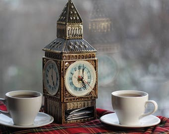 "Porcelain Tea Caddy with a clock ""Big Ben. Five o'clock"",  Tea Storage Box, Tea Holder, Tea Container"