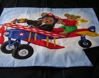 Airplane flying bear backed pillow panel