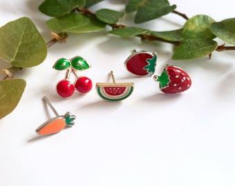 Strawberry earrings, Carrot Earrings, Cherry earrings, Watermelon earrings, Fruit earrings, Foodie earrings, Summer earrings, Stud Earrings