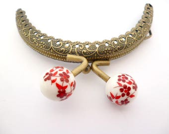 """Bronze tone metal Purse Frame _AT031325478/0547_Frames_ Brass purse / Red flowers of 85 mm / 3,34"""" _ pack 1 pcs"""