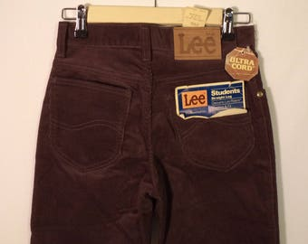 70s Lee Riders dead stock NEW Corduroy pants// NWT Brown straight leg medium rise USA made// Two pairs unisex 26W & 27W size 2 and 3 women