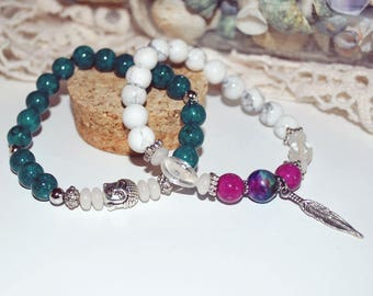Duo of Buddha and feather bracelet