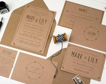 Rustic Wedding Invitation Bundle -  Kraft Wedding Invite Suite - Wedding Stationery - Invitation Set - Rustic Wedding - Country Wedding
