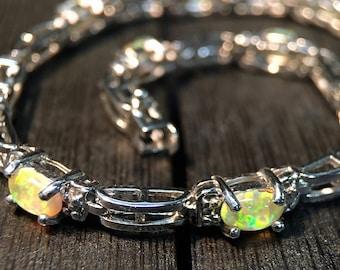 Silver Bracelet Marked 925 with Opal Like Stones    #013
