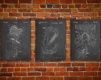 Climbing Wall Art, Patent canvas Print , Climbing Carabiner, Harness Art, Mountain Home Art, Climbing Decor, Climbing Poster Set Of 3
