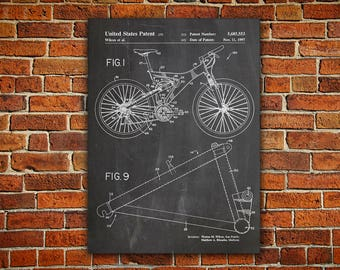 Bicycle Patent Canvas painting, Mountain Bike Poster, Mountain Bike Patent, Trek Bike Patent, Bicycle Wall Art, Bicycle Wall Print