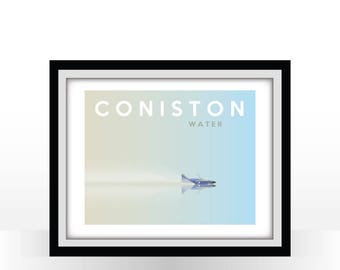 Coniston Water - Retro Travel Poster - Bluebird Across the Water