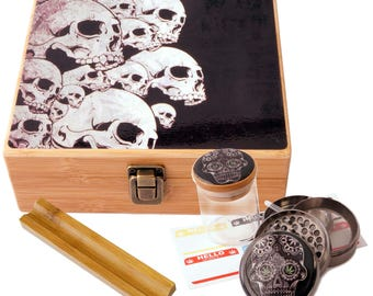 "Large Size Geometry Stash Box, 2.5"" Zinc Alloy Grinder,  Stash Jar, 6"" Rolling Tray - ALL IN ONE Box Package - Skull Design # LBCS020818-6"