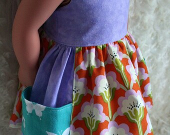 18 Inch Doll Clothing June Pocket Dress Flowers and Fun