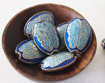 2 Metal Cloisonne Butterfly Beads Or Pendants Oval Shape Blue Turquoise Size 20 x 14mm