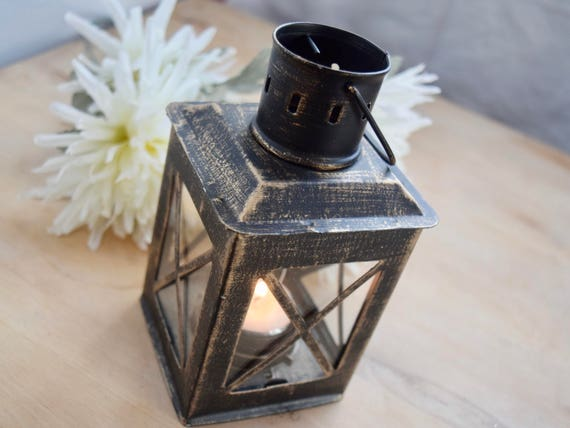 "Small Black Distressed 6"" (from chimney) lantern, tea light holder, gold & bronze highlights, candle holder, table center piece celebration"