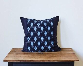 "Vintage Japanese indigo Ikat pillow 20"" x 20"""
