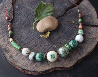 Ceramic forest necklace