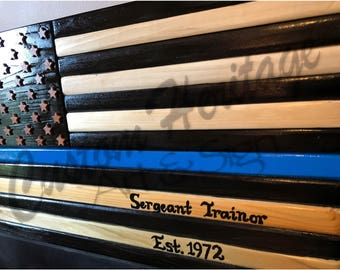 Wood Flag, Wooden Flag, Thin Blue Line, Police, American Flag, handmade american wood flag, wood flag,military, police, fire, rescue