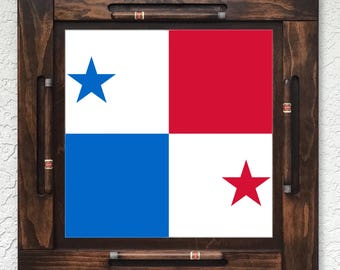 Wooden/wood domino table top-Panama Flag-Made in USA