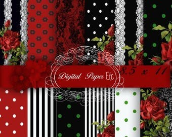 SALE Red and Black Digital Papers, Red Roses,White Lace Stripes on Black Paper. Rose Patterns,  Polka Ddot P 96SB