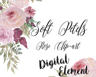 Watercolor Clip-art, Watercolor Florals, Pink Rose Watercolor Clip-art, Pink Shabby Roses, Soft Pink Petals. No. WC58