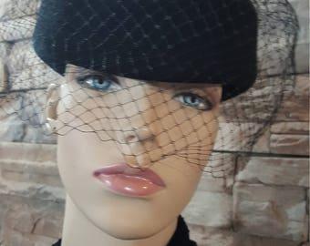 Steampunk hat ,victorian lady,black vintage hat with veil  netting,black cosplay hat , netting headdress