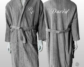 Personalized Jacquard Polar Robe Ref. Hive - Grey